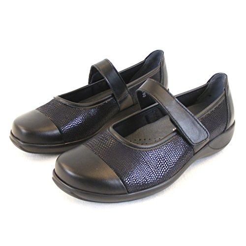 Stuppy Damen Schuhe Mary Jane Spangenschuhe Leder Stretch schwarz 12357 Fußbett, Größe:5