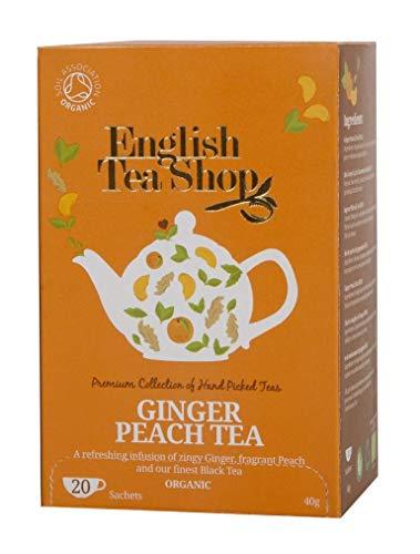 English Tea Shop Infusión Refrescante de té Negro Orgánico, Melocotón Fragante y de Jengibre Made in Sri Lanka - 6 x 20 Sobres (240 Gram)