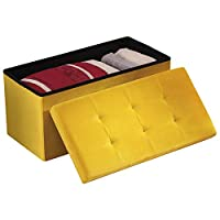 YourHome Ottoman Foldable Home Storage & Footrest with 100 Litre Capacity (Ochre, Plush Velvet)