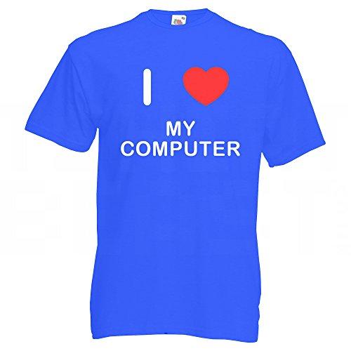 I love My Computer - T Shirt Blau