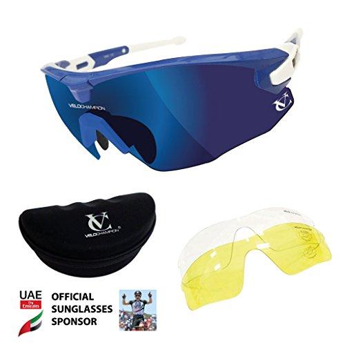 VeloChampion Blue Missile Sunglasses, Blue Bridge, Revo Blue