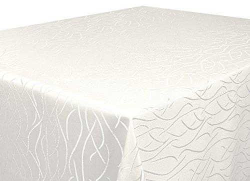 Tischdecke creme Oval 135x180 in glanzvoller Streifenoptik, eckig - Größe, Farbe & Form wählbar (Rund Eckig Oval) (Spitzen Tischdecke Rund Creme)