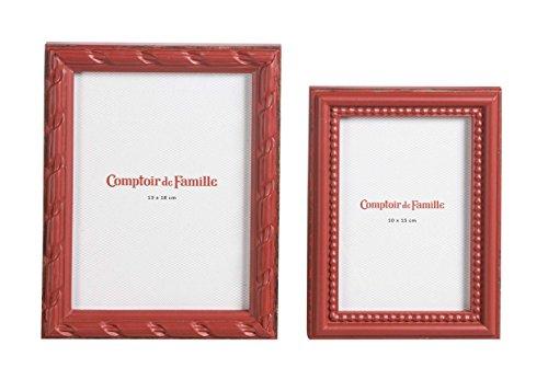 Comptoir de Famille 161920 Cadres Photos Palatine, Lot de 2 Paulownia, Rouge, 25x25x25 cm