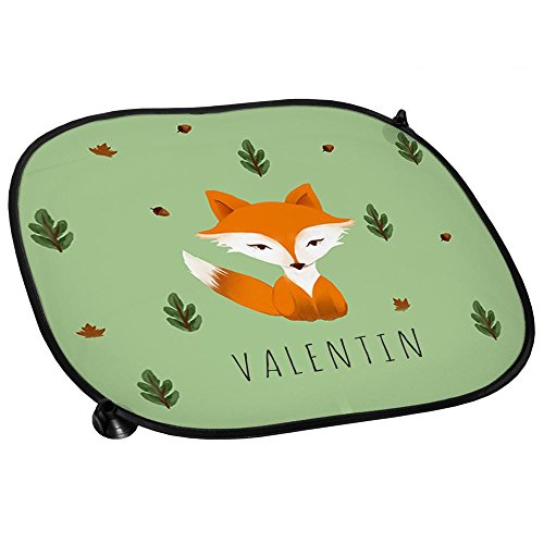 Auto-Sonnenschutz mit Namen Valentin und schönem Motiv mit Aquarell-Fuchs für Jungen   Auto-Blendschutz   Sonnenblende   Sichtschutz