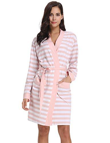 Aibrou Bata Kimono Mujer Invierno Algodón de Rayas Pijama Manga Largas Albornoz Ropa de Dormir con Cinturón, Sencillo y Elegente