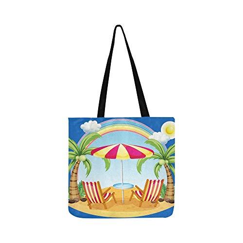 Seashore Strandschirm Stühle auf Leinwand Tote Handtasche Schultertasche Crossbody Taschen Geldbörsen für Männer und Frauen Einkaufstasche