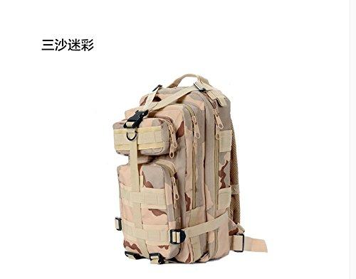 Outdoor camouflage Rucksack Doppel Schulter wandern Tasche Rucksack, schwarz Drei Sand camouflage
