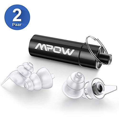 Mpow 096A Musik Gehörschutz Ohrstöpsel (2 Paar), 28dB SNR Wiederverwendbar Silikon Ohrstöpsel mit Alubehälter, Gehörschutzstöpsel für Konzert, Festival, Musik und Disco - Transparent & Schwarz
