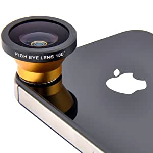 Patuoxun® 180 Grad Fischauge Magnetisch Kamera Linse Objektiv Kit für iPhone 5 5S 5C 4S, Samsung Galaxy S5 S4 S3 Note 3 2, HTC One M8 M7, Sony Xperia Z2 Z1 L36H L39H, Nokia N920 N820 - Gelb