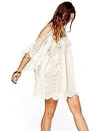 7031d8a6da Culater® Gente Hippie Boho Vendimia Bordados De Mini Vestido De Encaje De  Flores De Ganchillo