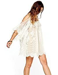 c224abc45b Culater® Gente Hippie Boho Vendimia Bordados De Mini Vestido De Encaje De  Flores De Ganchillo