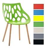 CLP Retrostuhl Hailey mit pflegeleichter Kunststoff-Sitzschale und Einer Sitzhöhe von: 44 cm I Esszimmerstuhl mit Lehne und Buchenholzgestell I In verschiedenen Farben erhältlich Grün