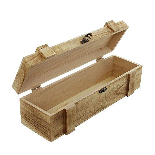 FRANK FLECHTWAREN Holz-Truhe Rustikal für 1 Flasche
