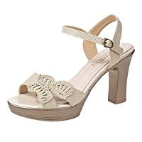Butterfly Rhinestone Sandals,PAOLIAN Women Peep Toe Buckle Ankle Strap High Block Heel Chunky Shoes Causal Platform Shoes