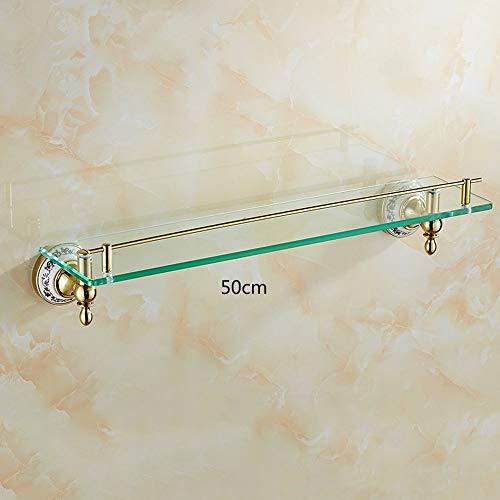 Extrem festes Duschregal Regal aus blauem und weißem Porzellan Einschichtige goldene Regale Antikes Badezimmer-Hardware-Zubehör Gehärtetes Glas zur Qualitätssicherung (Größe: 50 cm) - Glas-regal-hardware