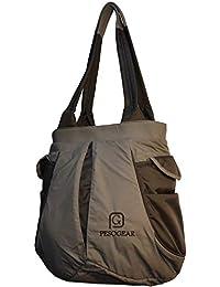 Pesogear Gear-Trax Women's Multi-pocket Polyester Nylon Shoulder Bag (Grey and Black)