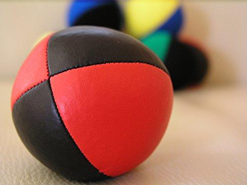 Jonglierball: HENRYS Beanbag Premium (Glattleder) 67 mm, schwarz-rot (Stückpreis)