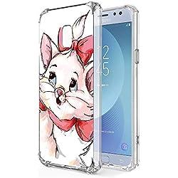 """Zhuofan Plus Coque Samsung Galaxy J5 2017, Silicone Transparente avec Motif Design Antichoc Coussin d'air Housse TPU Souple Airbag Shockproof Case Cover pour Samsung J5 2017 5,2"""", Chat Rouge"""