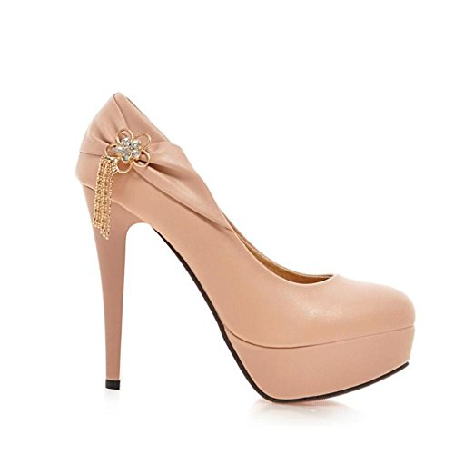 Lemon&T Spring Solid Color PU Round-toe Slip Women Resistant Sole 12 cm de haut-talons Chaussures flatforms Ruffle Métal Tassel purple