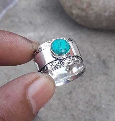 Argent Sterling 925 Femmes Turquoise Round Ring Gemstone Idéal Cadeau Bijoux