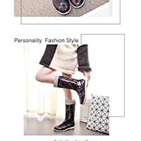 Wellington Boots ,Rain Boots Water Shoes In The High Tube Long Tube Fashion Models Wear Waterproof Rubber Shoes Non-Slip Shoes Adult Boots Rain Boots Plaid Red Stripes Plus Cotton Pvc Women Welling