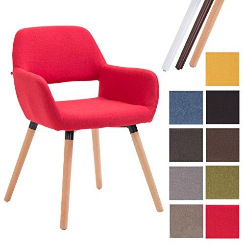 Clp sedia sala da pranzo bobby in tessuto - sedia imbottita stile vintage in chiave moderna - sedia visitatore con telaio in legno, dotata di braccioli e schienale - sedia design comoda rosso colore base: natura