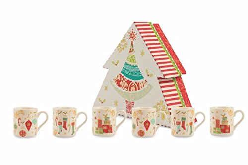 Villa d'Este Home Tivoli Sweet Xmas Set Tazzine Caffè, Bone China, Multicolore, 5.5 cm, 6 Unità