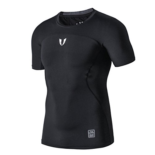 FIRM ABS Men's Cool Dry Skin Fit Sports Short Sleeve Compression Kurzarm (Basketball-t-shirt Light Blue)