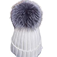 jsadfojas Womens Pom Pom Beanie Winter Warm Hat Wool Knit Thick Slouchy Cable Knit Skull Cap Baggy Ski Hat Winter Beanie Hat for Women Girls (White, One Size)