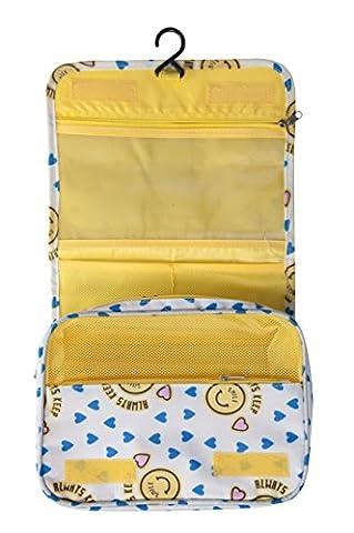 Femme pour homme Trousse de toilette à suspendre Grande étui de transport, Produits de toilette kit, maquillage Pouch Sacs, Yellow Smile (jaune) - 707870058192