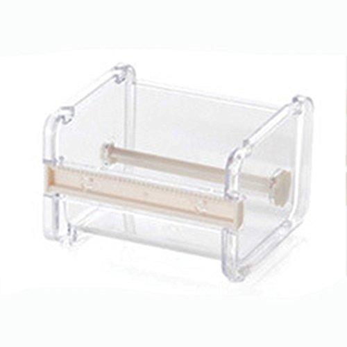 Organizador de cinta dispensador, Woopower 1capa cinta Holder almacenamiento Caso cortador–Escritorio rollo de cinta de carrocero Washi, transparente Tamaño libre beige