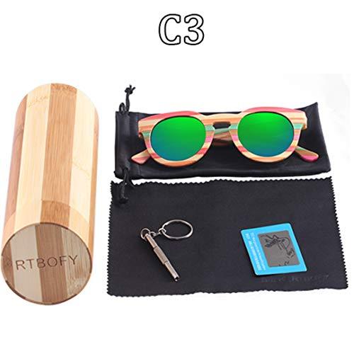 DAIYSNAFDN Holz Sonnenbrille Frauen Bambus Rahmen Brillen Polarisierte Gläser Gläser Mit Holz Box Uv400 C3