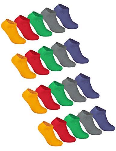 Sockenschuss 10 oder 20 Paar Sneaker Socken Damen & Herren Schwarz & Weiß - Beste Qualität der Baumwolle 35 36 37 38 39 40 41 42 43 44 45 46 47 48 49 50