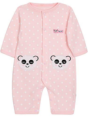 SANMIO Baby Strampler Spielanzug Jungen Mädchen Schlafanzug Baumwolle Langarm Overalls Säugling Romper Baby-Nachtwäsche (9-12 Monate, Panda) - 9 Overall Monate