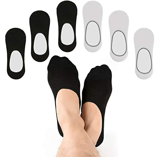1cd5ca59eb10f5 No Show Socks for Men and Women - 6 Pairs Low Cut Non Slip Grip Footies