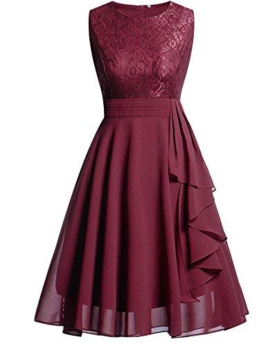 Cytree Damen Ärmellos Spitzekleid A-line Festlich Chiffon Party BallKleid Brautjungfernkleid Abendkleider Rosa M (Der Gala-abschlussball-kleid)