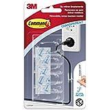 Command 17301CLR - Pack de 1 x 4 ganchos sujeta cables mediano con tiras (plástico) transparentes