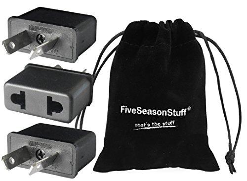 FiveSeasonStuff ® 3 x Reisestecker Adapter Deutschland (DE) / Europe Europa (EU) auf (AU) Australien Stecker (mit Interne Kupfer Komponenten) Schwarz mit FiveSeasonStuff® Beutel