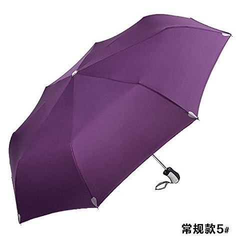 ZQ@QXFach 3 Voll-automatische Falten Regenschirm anti-Männer und Frauen Regenschirm, Violett