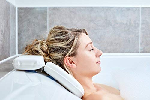 Bath Pillow - Best Bath Pillows By Tranquil Beauty For Head And Neck With 7 Suction Cups - Luxury Bath Cushion For Ergonomic Home Spa Back Support Complete With Contemporary Presentation Gift Box - Bath In Comfort With Quality Durable Microfiber Easy Clean Material For Roll Top And Round Bath Tub Shapes - Take A Seat And Relax With Our Waterproof Non Inflatable Design Ideal For Elderly And Children Providing a Relaxing Spa Pillow Experience In Your Own Home