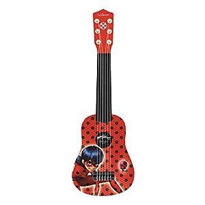 Lexibook-K200MI Lexibook Miraculous Ladybug Mi Primera Guitarra para niñas, 6 cuerdas de nylon, 53 cm, guía incluida, Rojo/Negro, K200MI, Color