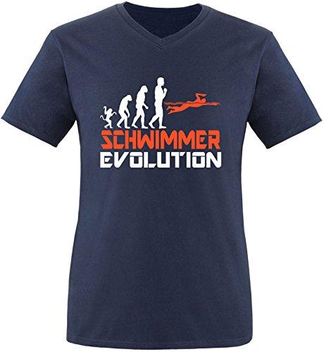 EZYshirt® Schwimmer Evolution Herren V-Neck T-Shirt Navy/Weiss/Orange
