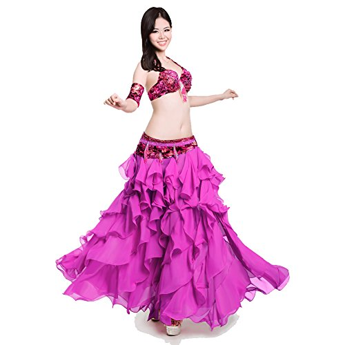 ROYAL SMEELA Bauchtanz-Kostüm für Damen, Chiffon, Bauchtanz-Rock, Bauchtanz-Armband, Bellydance Dancer Outfit, 4 Stück - Pink - - Royal Dancer Kostüm