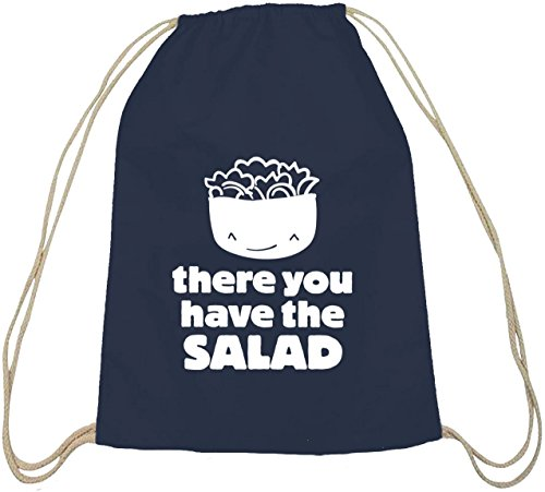 Shirtstreet24, There You Have The Salad, Baumwoll natur Turnbeutel Rucksack Sport Beutel dunkelblau natur