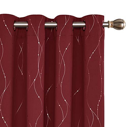 Deconovo vorhänge gardine Wohnzimmer gardienen Fenster Rot 240x140 cm 2er Set