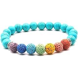 General purpose Pierre de Lave colorée 7 Chakra Perles Bracelet Bijoux vêtements pour Hommes