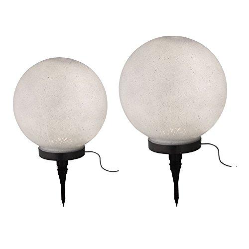 2x LED Solar Lampen Steck Erdspieß Strahler Außen Hof Kugel Leuchten Stein Optik