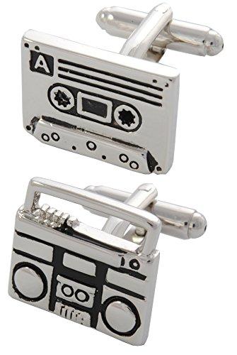 COLLAR AND CUFFS LONDON - HOCHWERTIGE Manschettenknöpfe mit GESCHENK BOX - Retro Kassette und Kassettenspieler - Stilvolle Messing - Musik Radio DJ Recorder - Silber und Schwarz Farben