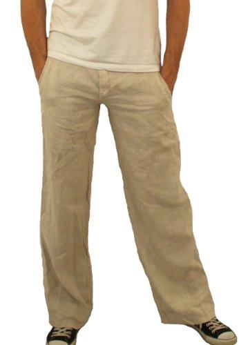 08139 PERANO Herren Leinen Hose Farbe Beige Konfektionsgröße 52 Internationale Größe L beige 52/L.