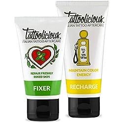 Tattoolicious COMBO CARE - FIXER Creme Beruhigende Biologische Speziell für die Pflege des Tattoo 75 ml + RECHARGE Creme Biologische Revitalisierend Speziell für Tattoos 100 ml